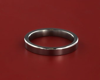 Elegant 3MM Titanium Ring with Polished Finish and Free Etching- 3f