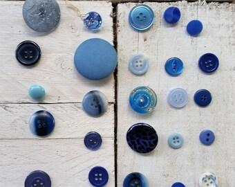 Vintage blue button collection