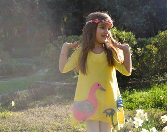 Little Duck dress,Easter dress,yellow dress,pastel colors dress,girls dress,Easter outfit,applique duck dress,toddler dress,spring dress