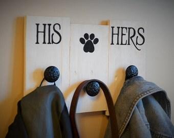 His, Hers, Dog Coat Hanger, wooden sign
