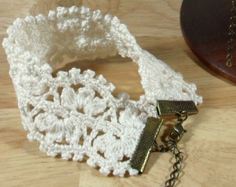 Crochet pure cotton lace ecru bracelet - matching choker availble
