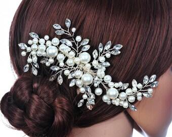 Handmade Sprawling Pearl & Crystal Hair Comb BH1046i