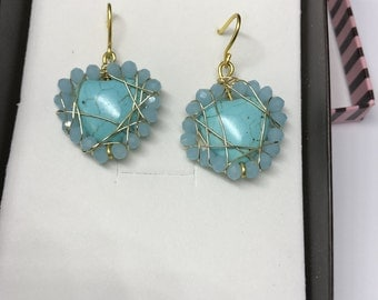 Turquoise heart earrings with crystals
