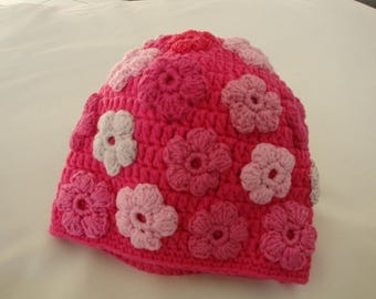 Hat for girls with sewn crochet flowers, pink flowers, crochet, pink,