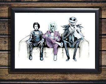 Tim Burton Cast - Beetlejuice, Edward Scissorhands & Jack Skellington - Original Art - Gloss Print