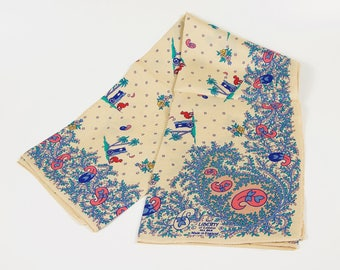 "Liberty of London silk square with a camel cart under a palm and starry night sky.  Vintage, trademarked, 23""."