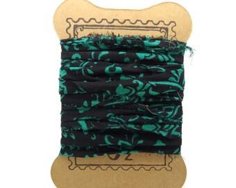 "Indian ""SI0189"" black green chiffon sari Silk Ribbon"