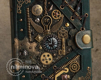 "Steampunk notebook A6 blank journal diary ""By the wings of time"" READY TO SHIP"