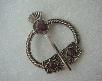 Exquisite Silver Tone Thistle Brooch With Purple Rhinestones