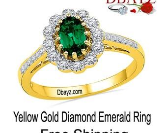 Emerald Diamond Ring Yellow Gold Free Shipping by Dbayzcom