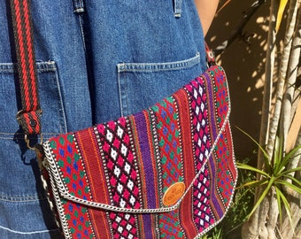 Stunning Vintage Mexican Saltillo blanket style lined woven cross body / messenger purse