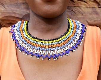 FREE LOCAL SHIPPING /Zulu Collar Necklace/Tribal Necklace/Statement Necklace/African/Ethnic Necklace/Beaded Necklace/Traditional Jewelry