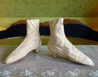 Silk Satin Lace Boots, antique boots, antique shoes, Victorian shoes, France, ca. 1850-1860