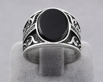 Eastern Motif Oval Black Onyx Turkish Handmade 925 Sterling Silver Men's Ring (MR-481)