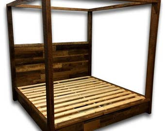 reclaimed wood bed canopy bed storage bed platform bed bedroom furniture