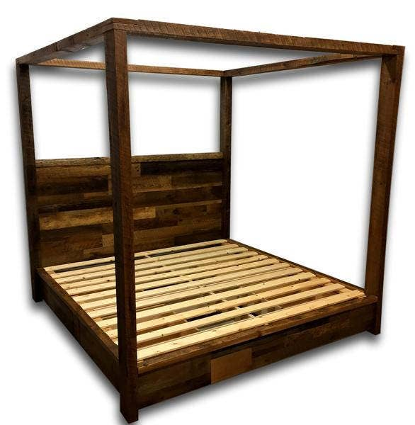Reclaimed Wood Bed, Canopy Bed, Storage Bed, Platform Bed, Bedroom  Furniture, - Reclaimed Wood Bed Etsy