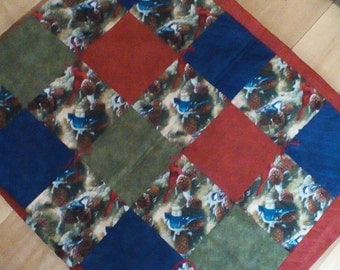 Cardinal/bluejay quilt, lap quilt, baby blanket, crib quilt