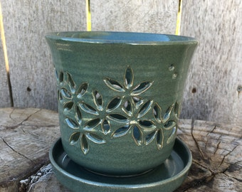Green Orchid Pot with Leaf Design
