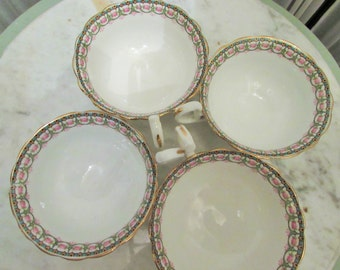set of four vintage Aynsley England tea cups, 1950's