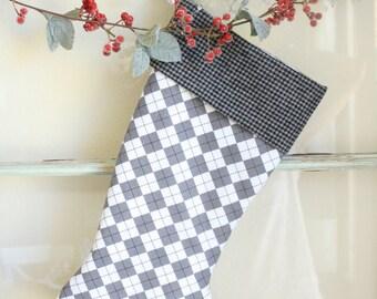 Gray Argyle Stocking