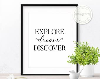 Explore Dream Discover, 50% Off Sale, Printable Wall Art, Wanderlust, Travel Adventure Quote Poster, Digital Print Design, Instant Download