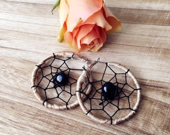 Dreamcatcher Hoop Earrings with Black Obsidian - Protection from Negative Energy