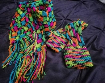 Scarf and fingerless gloves set