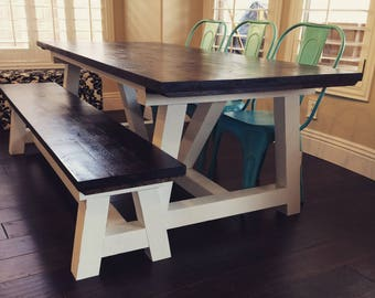 Farmhouse Dining Table // Knotty Alder // Rustic // Distressed // Truss