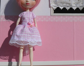 Dress pink vichy to Blythe and Pullip