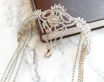Serina — Rhineston head chain, crown, headpiece, bridal, wedding accessory, hair jewelry