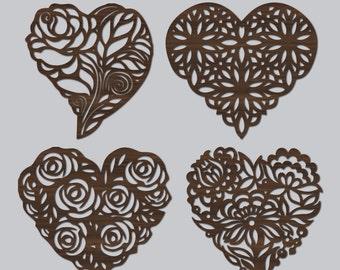 """Hearts Laser Cut Walnut Wood Coasters (1/8"""" (3 mm) Tick) - 4 piece (Natural Walnut Wood)"""
