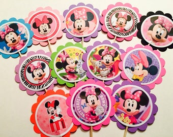 12 Minnie Mouse party favor, Minnie Mouse birthday decor, Minnie Mouse party decor, Minnie Mouse cupcake toppers OR party tags