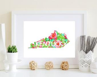 Kentucky Art Print - Kentucky print, Floral Kentucky, KY floral art, Ky state art, ky wall decor, printable ky art, Digital KY art