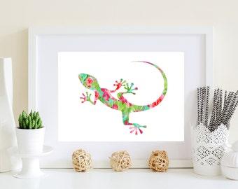 Watercolor Lizard - Lizard art print, reptile art, lizard poster, printable lizard, lizard floral print, lizard flower art, pink lizard art