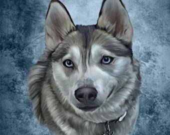 Husky Pet Portrait, Husky pet art, Husky artwork, Dog art, pet artwork, Wolf dog art, Custom dog art, custom dog portrait, pet portraits