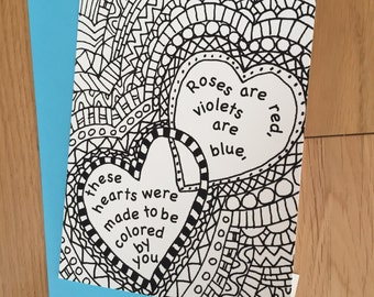 Roses are red..., Coloring Greeting  Card, Hearts Card, Line Drawing