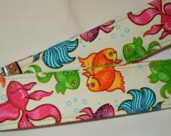 "Beta Fish Key Chain Fob Made with Dan Morris ""A Tale of Two Kitties"" Fish Fabric"