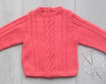 Ready-to-use: Baby cable sweater in pink, 3 months