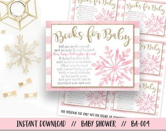 Snowflake Books for Baby Insert, Snowflake Baby Shower Books for Baby, Winter Baby Shower Insert, Winter Books for Baby