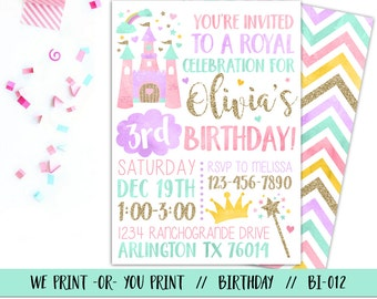 Princess Invitation, Princess Birthday Invitation, Princess Party Invitation, Royal Birthday Invitation, Princess 1st Birthday