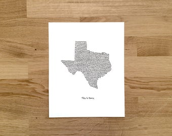 Texas Print - 8x10, Hand Drawn, Art Print, Wall Art, Home State Decoration, Gift for Him, Gift for Her, State Pride, Word Art