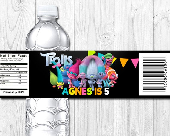 Trolls Personalized Water Bottle Label