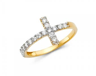 14K Solid Yellow Gold Cubic Zirconia Sideways Cross Ring - Polished Finger Band Women's