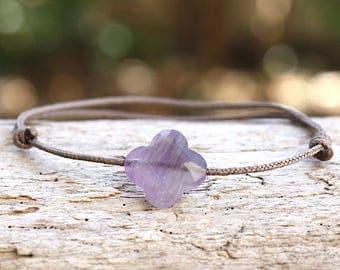 String clover Amethyst gem stone bracelet
