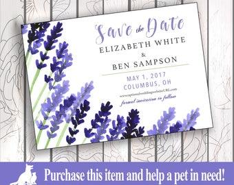 Save the Date Invitation, Custom, Personalized, Print/Digital - Lavender Fields All White