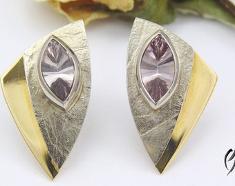 Earrings yellow gold / white gold 750 / - with tourmaline