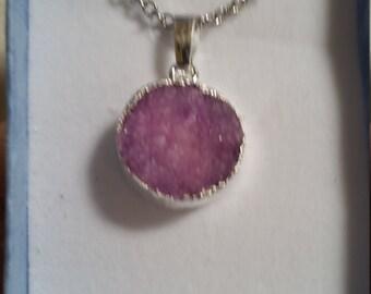 Purple Druzy Pendant