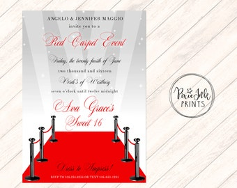 Red Carpet Invitation, Hollywood Sweet 16 Invite, Red Carpet Party Invitation, Hollywood Printable, Red Carpet Birthday Party, Red & Silver