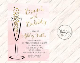 Brunch & Bubbly Bridal Shower Invite, Watercolor Invitation, Bubbly Bridal Shower Invitation, Bridal Shower Printable, Brunch Bubbly Invite