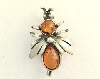 Vintage Sterling Silver Amber Bug Brooch